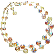 Fawn & Yellow Aurora Crystal 2 Strand Vintage Necklace