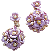 Awesome Lavender Plastic Flower Spheres Dangle Earrings