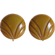 Carved Bakelite Olive Green Vintage Earrings