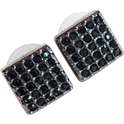 Awesome SWAROVSKI Black Rhinestone Pierced Earrings - Swan Mark