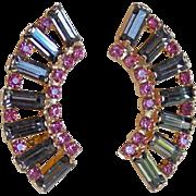 Gorgeous Smoke & Pink Rhinestone Vintage Earrings