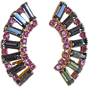 Gorgeous Smoke & Pink Rhinestone Vintage Earrings
