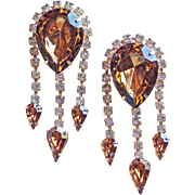 Vintage Brown & Clear Rhinestone Dangle BROOCHES