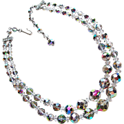 Gorgeous 2 Strand Vitrail Crystal Vintage Necklace