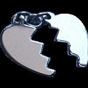 Sterling Mizpah Vintage Heart Charm