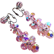 Pink Aurora Crystal Vintage Long Dangle Earrings