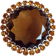 Gorgeous Brown Glass & Amber Rhinestone Vintage Brooch
