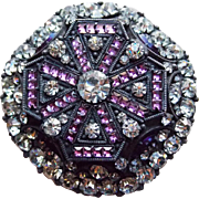 Converted Antique Hat Pin Purple Vauxhall & Rhinestone Brooch