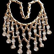 Fabulous Bezel Edge Set Crystal Vintage Dangle Necklace