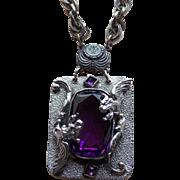 Converted Antique DRAGON Sash Pin Purple Glass Necklace