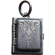 1940s Sterling Book Vintage Locket Charm