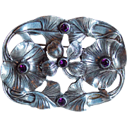 Vintage Shamrock Purple Stones Large Brooch