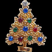 Awesome Christmas Tree Rhinestone Brooch