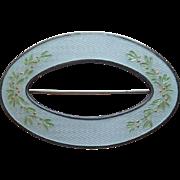 Antique Champleve Enamel & Sterling Charles Robbins Sash Pin