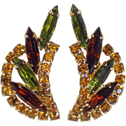 Vintage Green Brown & Amber Rhinestone Vintage Earrings