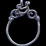 Vintage Sterling BICYCLE Charm Holder Pendant