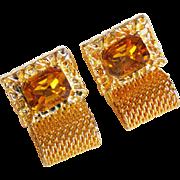 Vintage Amber Rhinestone Mesh Wrap Cufflinks