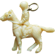 Vintage Celluloid Knight on Horse Estate Charm