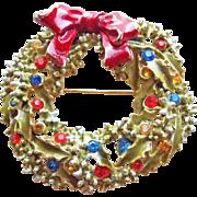 Signed ART Christmas Wreath Vintage Brooch