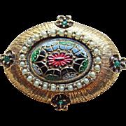 Signed Jeanne Matrix Glass Stone Vintage Brooch