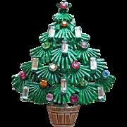 8 Candle Christmas Tree Green Enamel Vintage Brooch