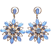 Gorgeous Blue Glass & Rhinestone Vintage Dangle Earrings