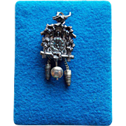 800 Silver Cuckoo Clock Mechanical Vintage Charm on Original Card
