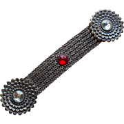 Art Deco Red & Clear Rhinestone Mesh Buckle or Belt Decoration
