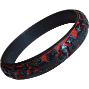 Carved Cinnabar Black Horses Vintage Bangle Bracelet