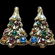 Christmas Tree Color Rhinestone Vintage Earrings