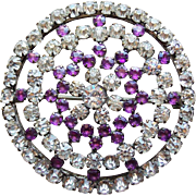 Fabulous Antique Purple & Clear Rhinestone Brooch