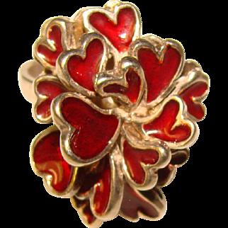 Fabulous ENAMELED HEARTS Modernist Sterling Ring