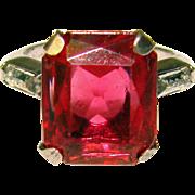 Fabulous UNCAS STERLING Cranberry Clear Stone Estate Ring