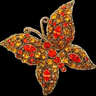 Fabulous BUTTERFLY Amber Orange Rhinestone Vintage Brooch
