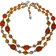 Fabulous VENDOME Signed Autumn Crystal Glass Rhinestone Necklace