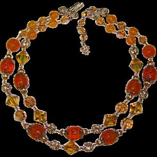 Fabulous VENDOME Signed Autumn Crystal Glass Rhinestone Necklace