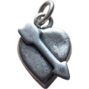 1940s Sterling Heart with Arrow Vintage Charm