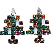Weiss Christmas Tree Rhinestone Vintage Earrings