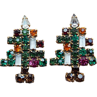 Weiss Christmas Tree Rhinestone Vintage Earrings