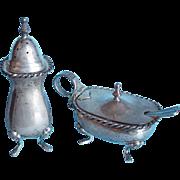 800 Silver PERUZZI Lion Face Salt Cellar & Pepper Shaker
