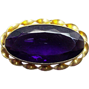 Victorian Purple Glass Antique Brooch