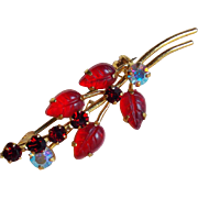 Cute Little AUSTRIA Red Leaf & Rhinestone Brooch