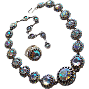 Fabulous HOLLYCRAFT Aurora Rhinestone Necklace & Ring Set