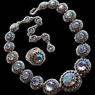 Fabulous HOLLYCRAFT Aurora Rhinestone Necklace & Ring Set