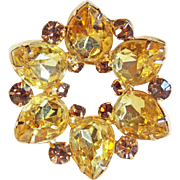 Gorgeous Yellow & Fawn Rhinestone Vintage Brooch
