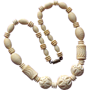 Gorgeous Art Deco Carved Celluloid Bead Necklace