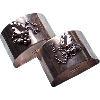 Pair of Handwrought Sterling Grape and Flower Napkin Rings