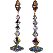 Long Margarita & Vitrail Crystal Vintage Earrings