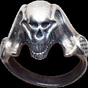 Sinister Sterling Skull Vintage Mans Biker Ring - 11 1/2 - 11 3/4