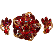 Fabulous RED Rhinestone Vintage Brooch Set